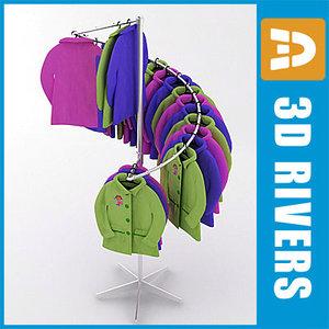 retail clothing rack kids 3d model