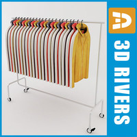 3d model retail clothing rack leather