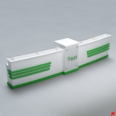 counter desk reception 3d 3ds