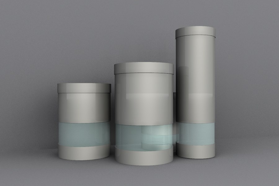 3d model of metal canisters