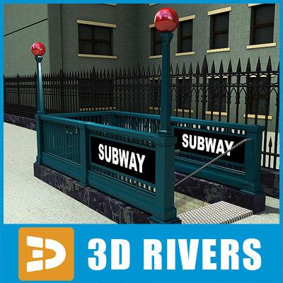 new york subway entrance 3d model