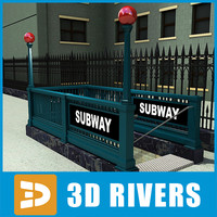 New York subway entrance 04 by 3DRivers