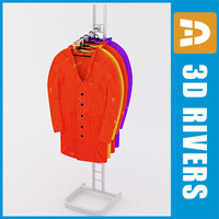 3d retail clothing rack raincoats model