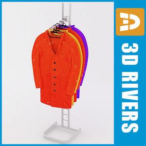3d retail clothing rack raincoats model
