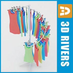 retail clothing rack summer 3d model