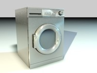 3d silver washing machine
