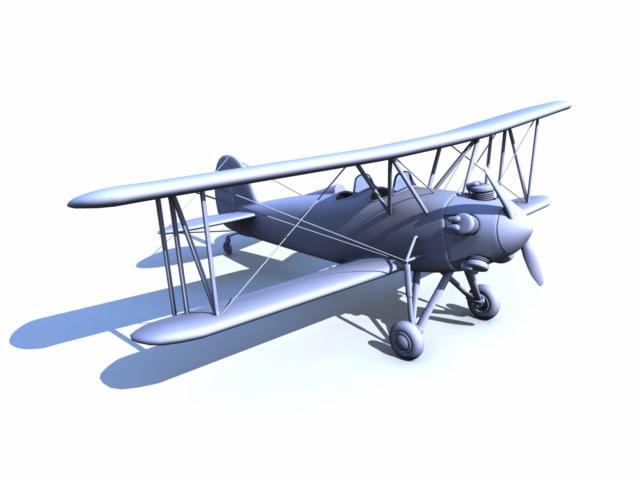 free obj model great lakes biplane
