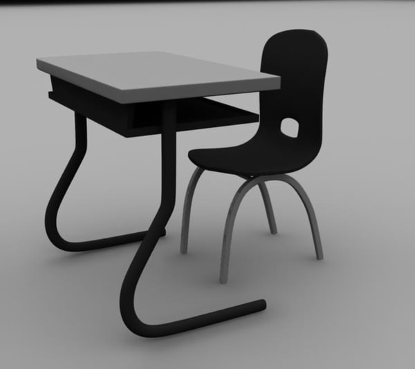 school desk chair obj