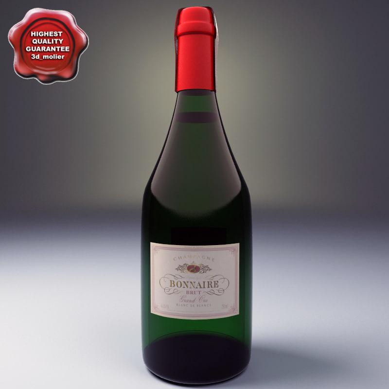 champagne bottle bonnaire 3d model