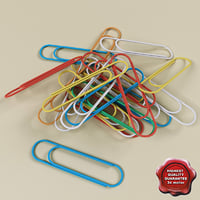 colored paperclips 3d model