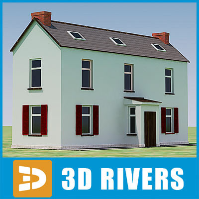 small town house building 3d max
