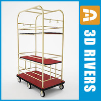 luggage cart 3d model