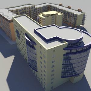 3d model modern multifunctional complex building