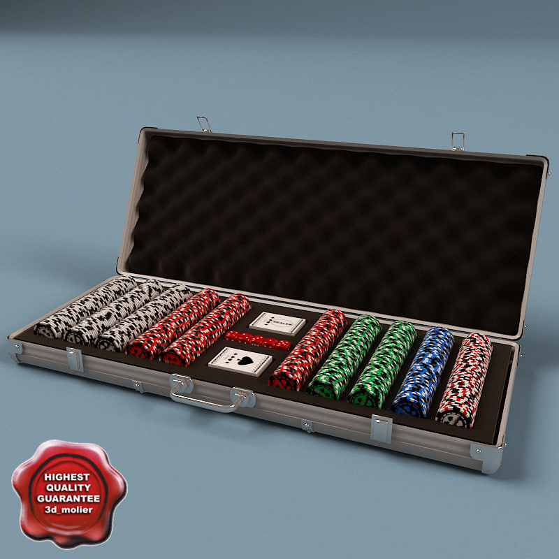 poker chip set 3d c4d