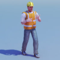 rigged construction site worker 3d model