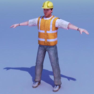 construction site worker 3d model