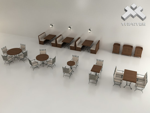 D restaurant furniture set