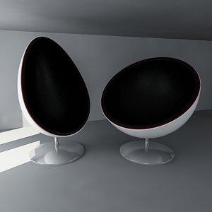 pod egg chairs 3d model
