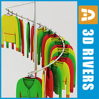 3d retail clothing rack ladies model