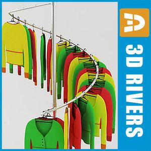 3d retail clothing rack ladies model