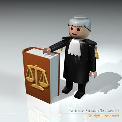 plastic figure lawyer judge 3d model