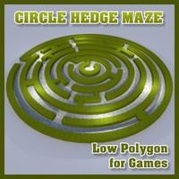 Low Polygon Circle Hedge Maze