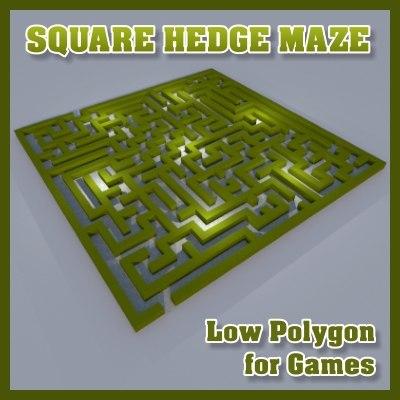 square hedge maze 3d obj