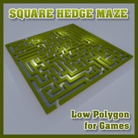 Low Polygon Square Hedge Maze