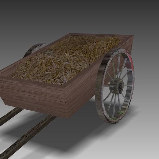 3d model wooden hay cart