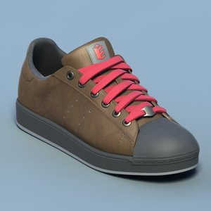 brown sports shoes 02 3d max