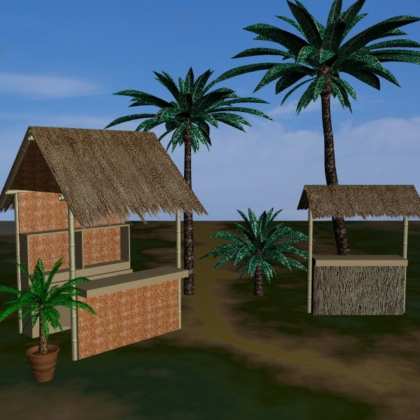 3d model bamboo tiki bars