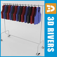 retail clothing rack waistcoats 3ds