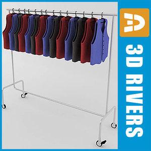 retail clothing rack waistcoats 3ds