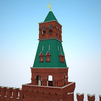 3ds max famous moscow kremlin river