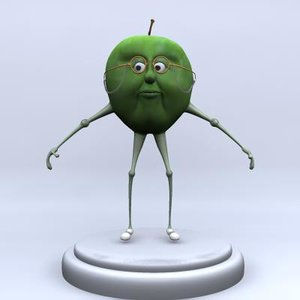 granny smith apple character rigged max