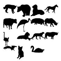 Силуэты фигур животных