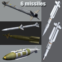 3d model aim-120 6 missiles