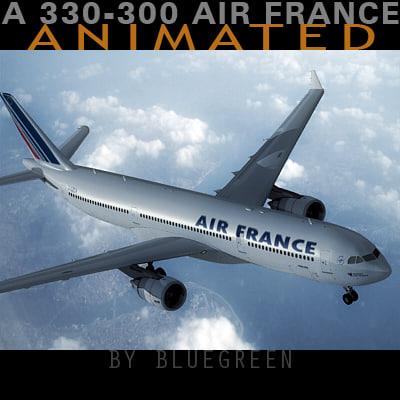 airbus a330-300 plane air france 3d model