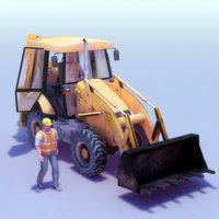 3d 2cx digger driver model