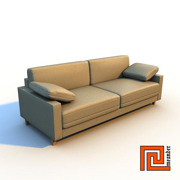 stylish sofa interior 3d lwo