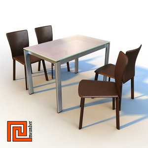 glass dinner table leather chair 3d max