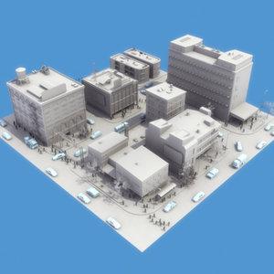 3d 3ds city scene population block