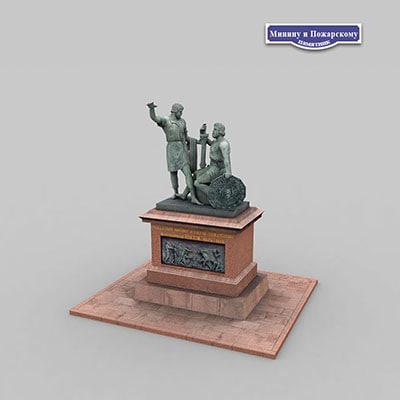 3d monument minin pozharsky model