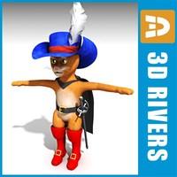 puss boots character 3d obj