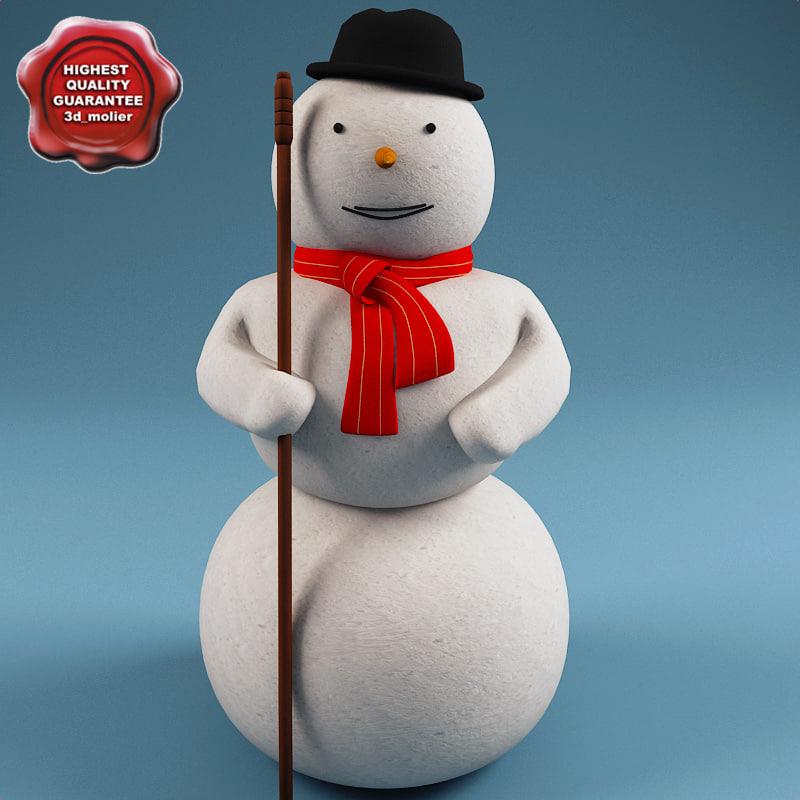 3d snowman modelled model