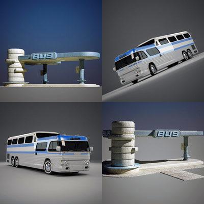 gmc bus shelter 3d 3ds