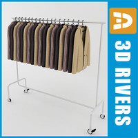 3d retail clothing rack jackets model
