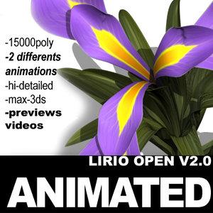 3d model realistic flower 3 open
