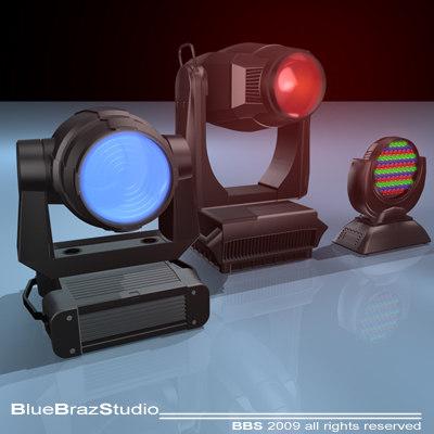 3d model moving heads spot light
