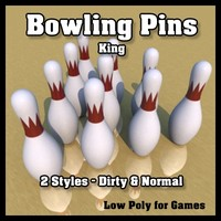 Low Poly Bowling Pins - King